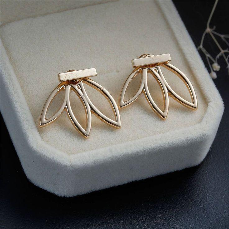Gold Flower Ear Jacket Womens Jewelry at MyBodiArt.com
