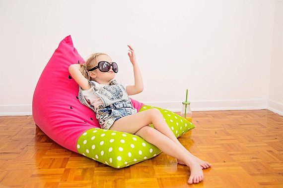 Watermelon Kids Bean Bag  Bright Pink and Green Dots by Cyandegre