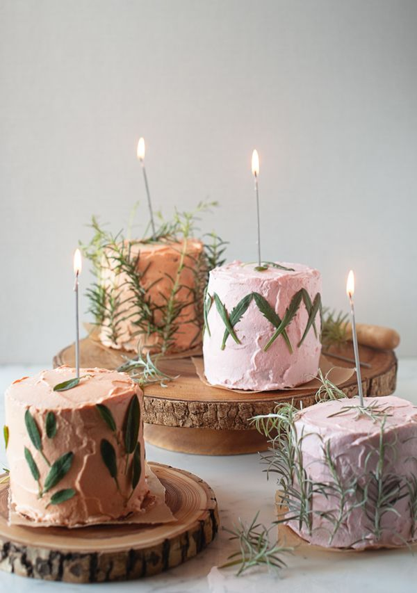 herb infused birthday cakes.