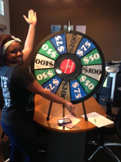 Lacey renewed and won on the Prize Wheel! Stop by the Leasing Office to Renew! Who doesn't love Free Money? Buy this Prize Wheel at http://PrizeWheel.com/products/tabletop-prize-wheels/tabletop-black-clicker-prize-wheel-12-slot/.