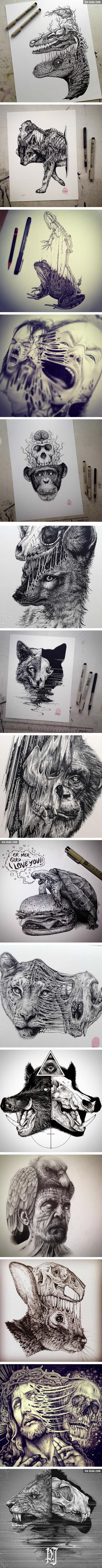 Animals Leave Their Skeletons Behind In These Stunning Dark Drawings (By Paul Jackson)