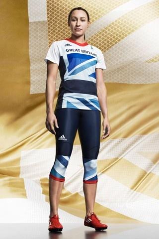 Jessica Ennis modelling Team GB London 2012 kit, designed by Stella McCartney