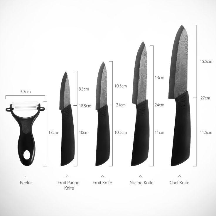 KCASA KC-KF5 5 Pieces Black Blade Zirconia Ceramic Knife Set Multi-function Chef Slicer Peeler