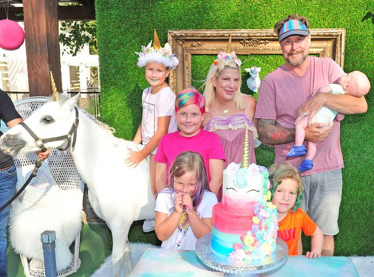 Tori Spelling from Celebrity Birthday Bashes! In celebration of daughter Stella's 9th birthday, the actress hosts a unicorn-themed party at the family home.