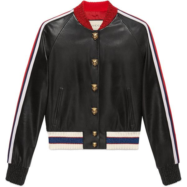 Gucci Embroidered Leather Bomber ($3,800) ❤ liked on Polyvore featuring outerwear, jackets, black, leather bomber jacket, real leather bomber jacket, genuine leather jackets, embroidered jacket and embroidered leather jacket