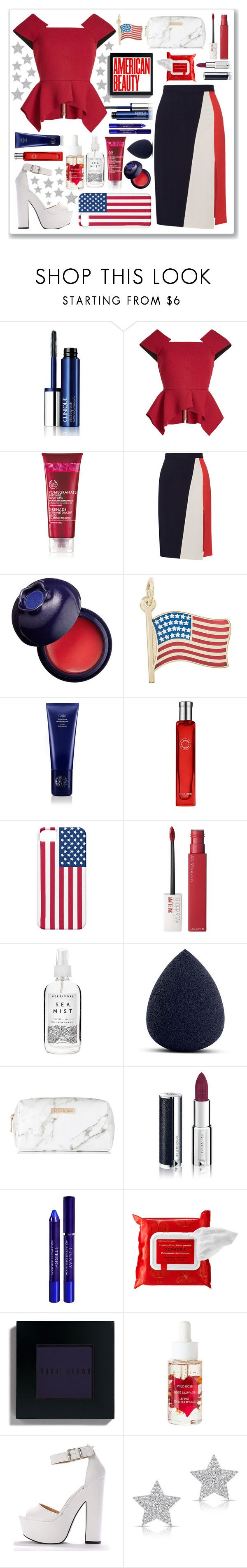 """""""American Beauty"""" by anadlangel ❤ liked on Polyvore featuring Clinique, Roland Mouret, Tanya Taylor, Charlotte Russe, Rembrandt Charms, Oribe, Hermès, Maybelline, Herbivore and My Makeup Brush Set"""