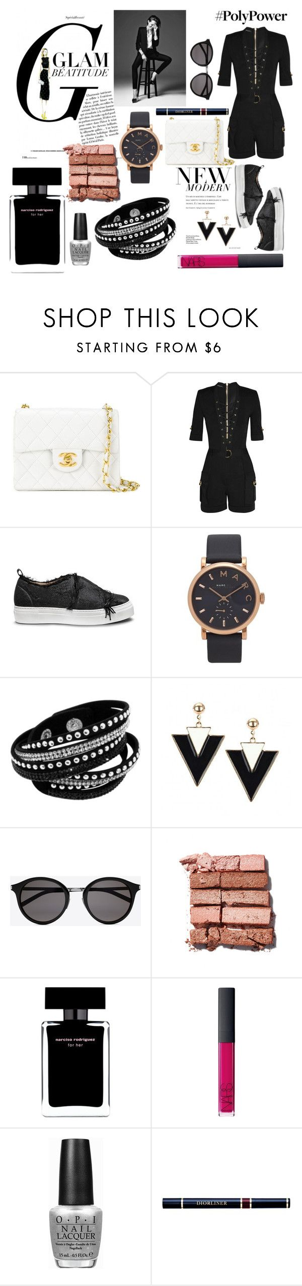 """Blacktitude Power"" by blackheaven on Polyvore featuring Chanel, Balmain, Calvin Klein, Marc Jacobs, Yves Saint Laurent, Bobbi Brown Cosmetics, Narciso Rodriguez, NARS Cosmetics, OPI and Christian Dior"