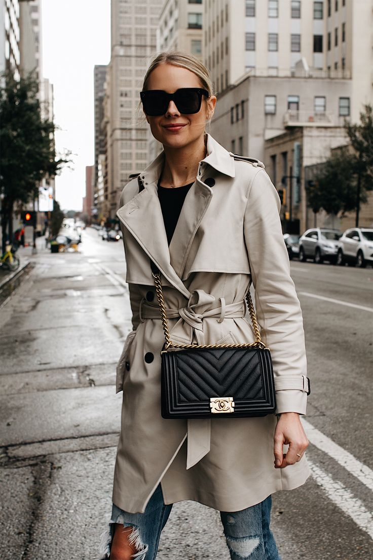 Classic Trench Coat & Chanel Black Bag