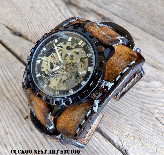 Skeleton leather watch for men's, Leather Cuff Watch, Wrist Watch, Vintage Brown watch, Men's Leather Cuff, Bracelet Watch, Mechanical