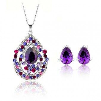 Set bijuterii veritabile Safiria placate cu platina si cristale Zirconiu
