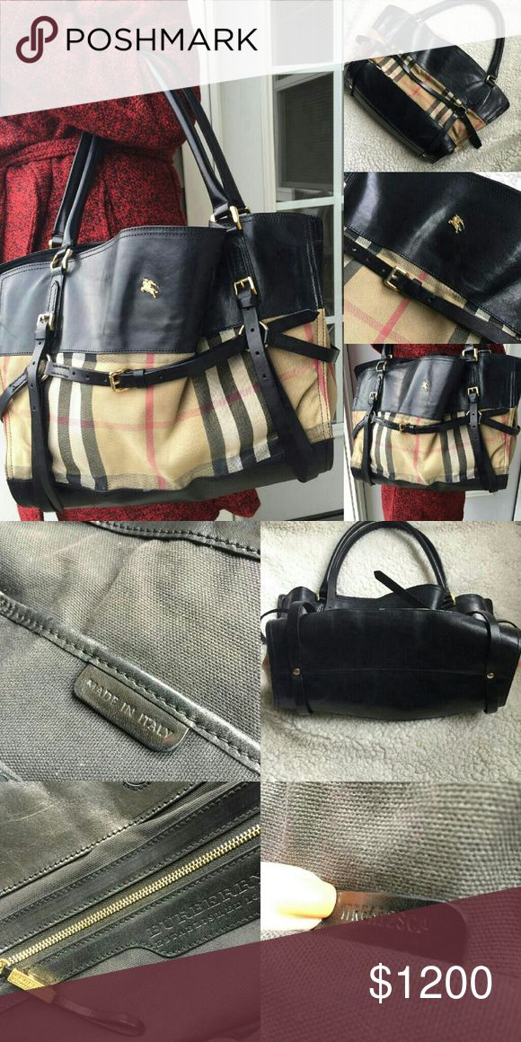 b58e1477d51   Authentic Large Burberry Bag Black Leather Bridle House Check Canvas  Lynher Large Tote Bag. Used large leather bridle house check …