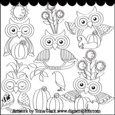 Autumn Owls 1 B/W Clip Art