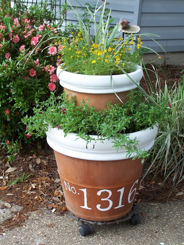 cute planters with house number