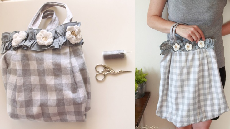 De vestido a bolsa.  I made ​​a dress that was too small for my daughter in a bag