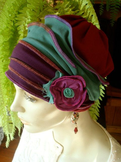 Womens Chemo Hat Headcover Flapper Purple by GypsyLoveHeadbands, $48.00