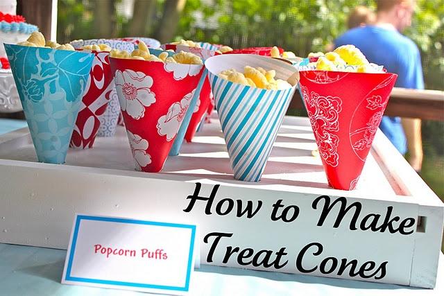 paper treat cone tutorial: Free Templates, Tutorials, Birthday Parties, Popcorn Cones, Treats Cones, Parties Ideas, Carrots, Smash Peas, Outdoor Movie Night