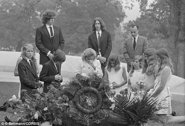 Fatherless: Ethel Kennedy and her children visit Robert Kennedy's gravesite in Arlington National Cemetery on the third anniversary of his assassination in 1971.