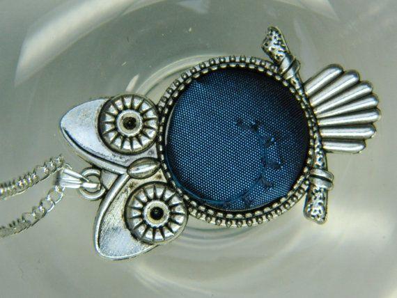 Fabric Covered Button Owl Pendant Girfriend gift by LittleRubyAtom