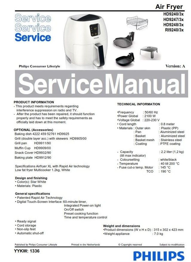 Philips Airfryer HD9240 HD9247 HD9248 Service Manual Free