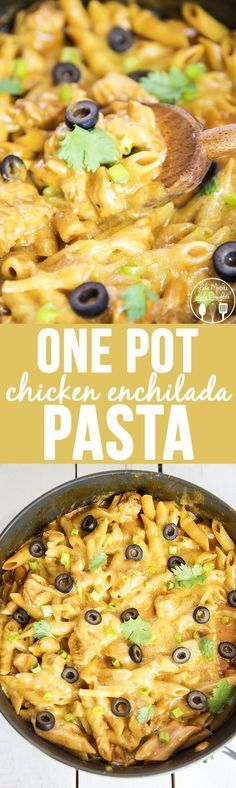 One Pot Chicken Enchilada Pasta Recipe - only 25 minutes to make! | Like Mother, Like Daughter - The Best Easy One Pot Pasta Family Dinner Recipes
