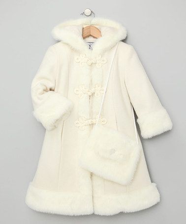 Girls White Faux Fur Coat