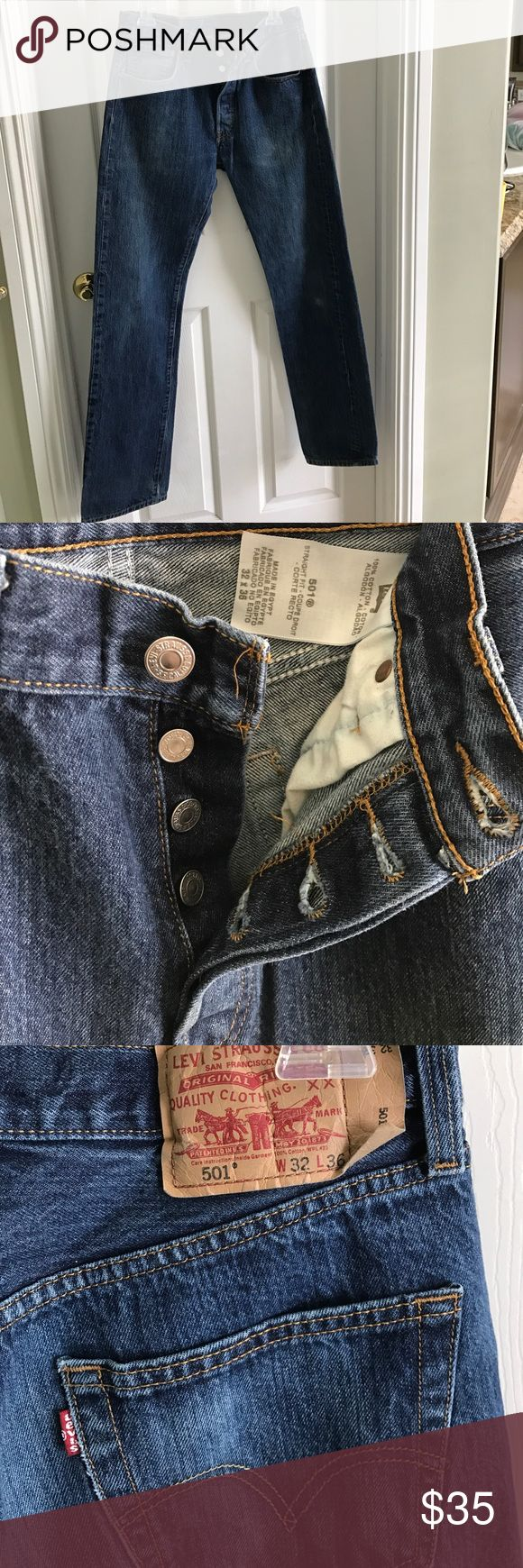Authentic original Levi's Button Fly 501 Jeans These 501' straight legs button fly style are in amazing condition no rips, tears or shredding.  Size 32X36. These are the original heavy duty quality Vintage Levis Jeans Straight Leg