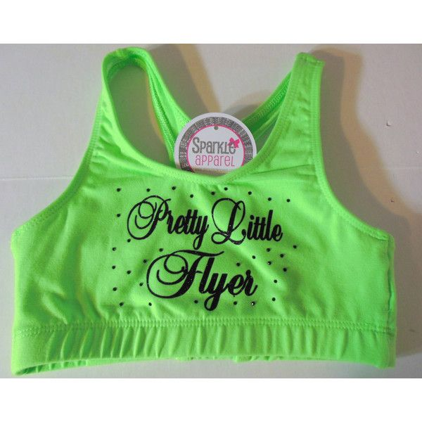 SparkleBowsCheer Pretty Little Flyer Lime Green With Black Glitter... ($25) ❤ liked on Polyvore featuring activewear, sports bras, grey, women's clothing, cotton sports bra, glitter sports bra, lime green sports bra, cotton activewear and grey sports bra