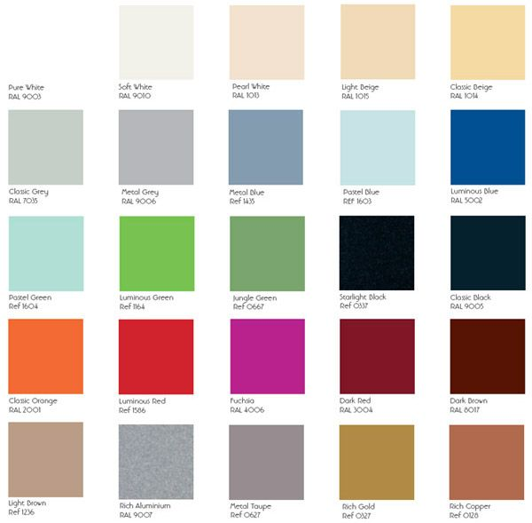 An extensive range of painted glass featuring 25 trendy colours.