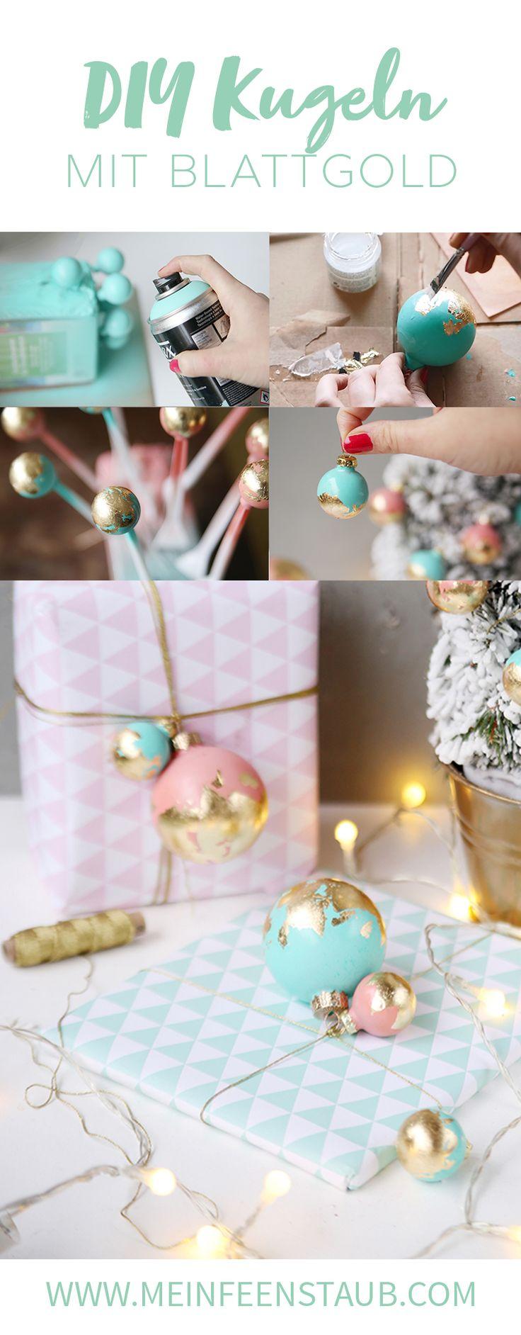 Kreative DIY-Idee für Weihnachten: Weihnachtskugeln mit Blattgold verschönern - bunte DIY-Idee für selbstgemachte Weihnachtsdeko   Geschenke schön verpacken für Weihnachten   Do it Yourself Einpacken