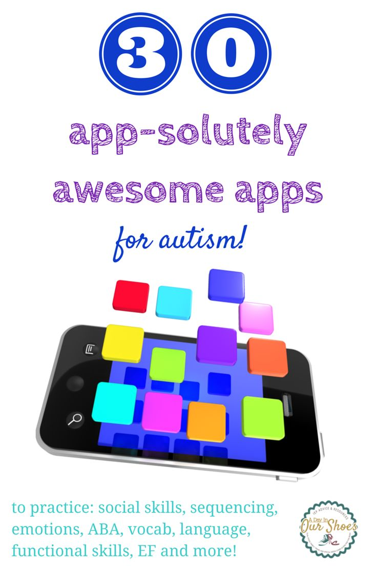 list of 30 great apps for kids with autism or related disabilities; includes turn taking, sequencing, social skills, emotions, language and more.