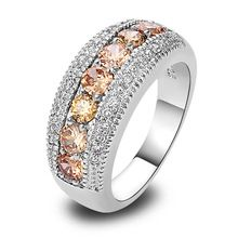 Wholesale unisex Handsome Jewelry Champagne Morganite Round cut 925 Silver Fashion Ring Size 6 7 8 9 10 11 12 For Free Shipping