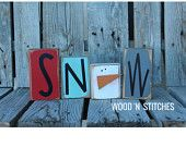 Winter snowman wood block set seasonal Christmas decor gift snowman collector personalized sign