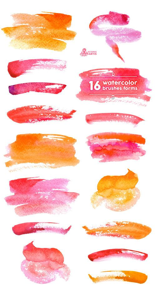 Watercolor Brushes forms Clipart: 16 Digital от OctopusArtis