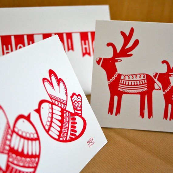 Unique Handmade Christmas Cards. Pack of six silk screen printed greetings cards.