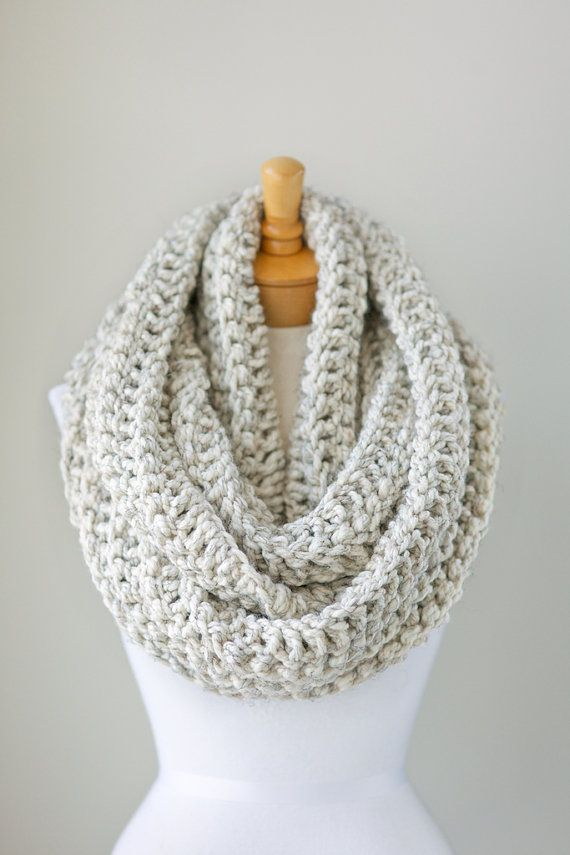 Oversized knit scarf, oversized chunky infinity scarf in Pale Brown / Beige with Aran Flecks color, crochet infinity scarves, unisex scarves