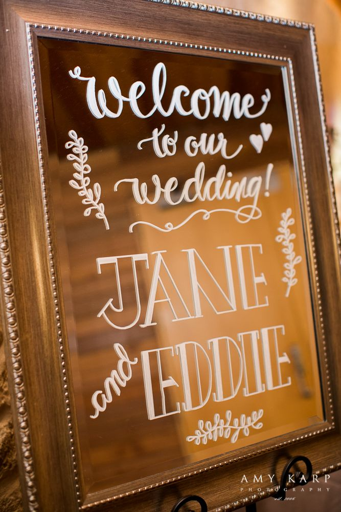 A mirror calligraphy welcome sign decor inspiration