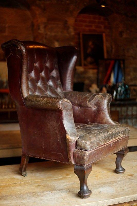 Gorgeous Georgian Leather wingback armchair - Decorative Collective