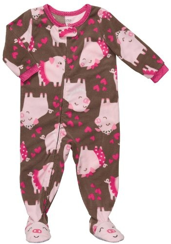 Carter's Girls Fleece Brown Pig and Hearts Footed « Clothing Impulse.
