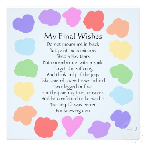 Customizable Wake / Memorial -- Rainbow Poem Personalized Invite