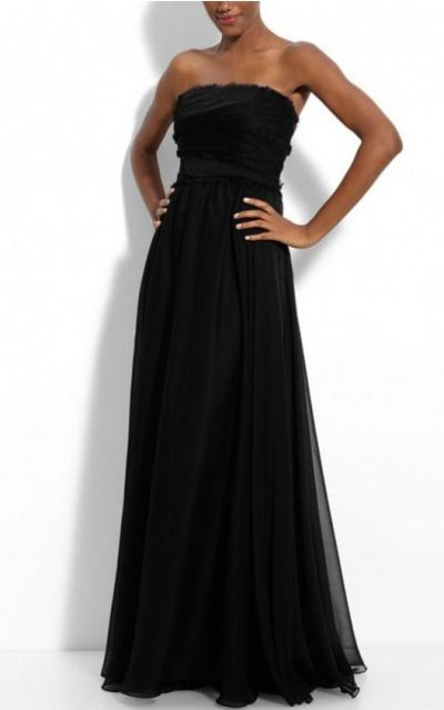 A-line Strapless Floor-length Chiffon Natural Formal Dresses gt1637