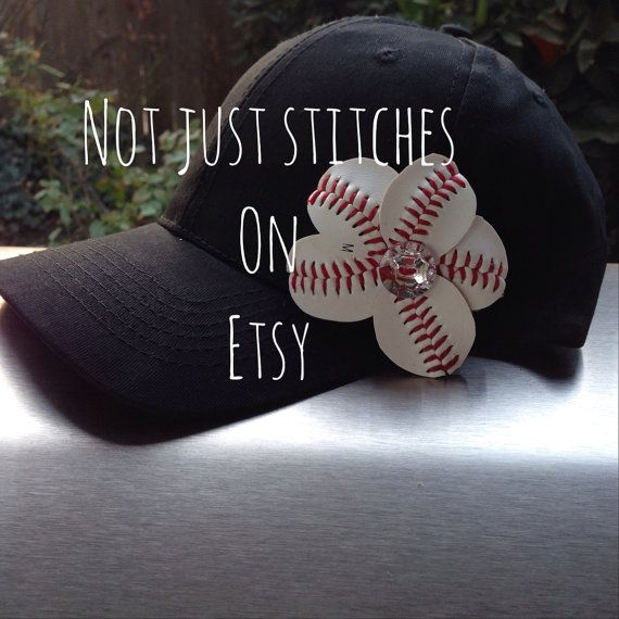 Baseball Bling Flower Cap  Baseball Mom  Sports by NotJustStitches, $22.00
