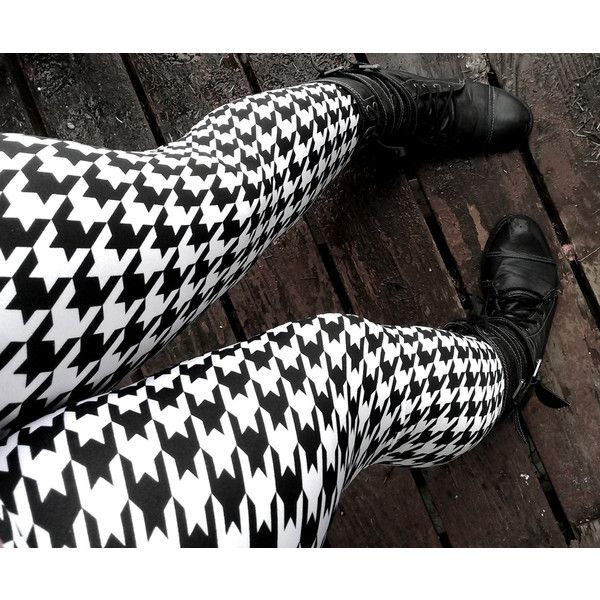 Black and white Houndstooth Leggings pants lycra ($36) ❤ liked on Polyvore featuring pants, leggings, black white leggings, spandex pants, elastic pants, black and white leggings and spandex yoga pants
