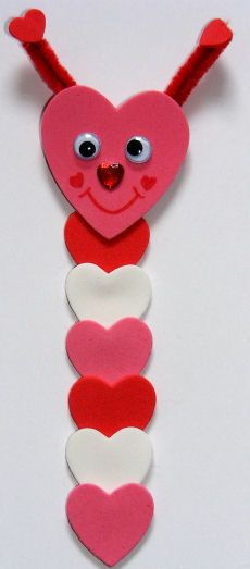 Make this loveworm bookmark craft for kids for Valentine's Day - he's cute, quick and fun and makes a sweet gift! You will need: Strip of card 6 small craft foam hearts 1 large craft foam heart 2 tiny craft foam hearts chenille stem 2 small wiggle eyes red pen heart sticker glue