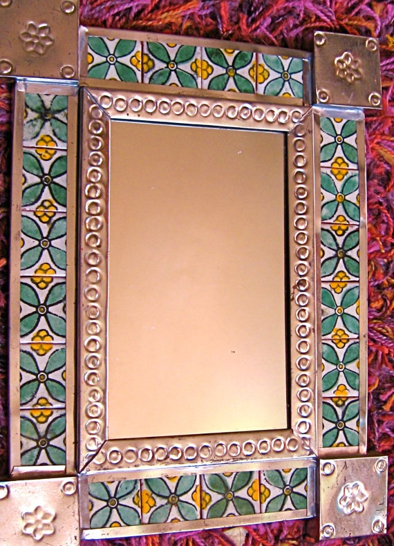 Vintage Mexican Hammered Tin & Floral Tile Mirror .