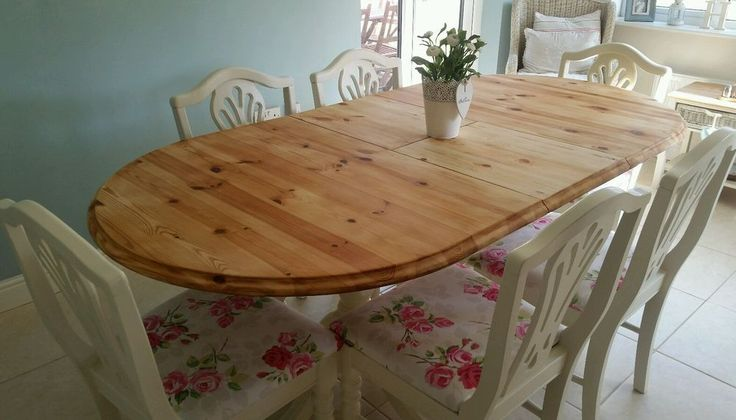 shabby chic extending 6ft pine table and 6 chairs in Laura Ashley white & roses