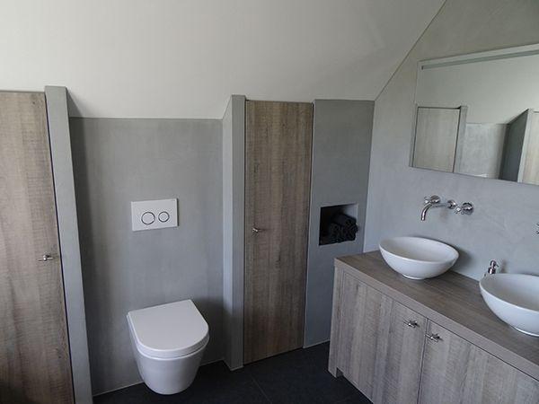 Beton cir in de kleur steen 3 grijs op de muur en grafiet 8 vloer de kosten voor het - Kleur modern toilet ...