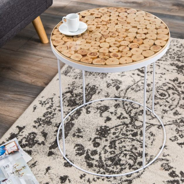 Stolik kawowy Mosaic Pure biały drewno szkło 50cm - ARCHIZONA - Stoliki