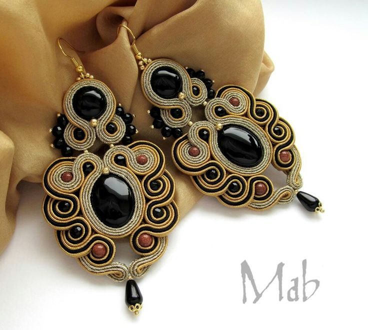 Black and Tan Soutache with Black Beads Earrings