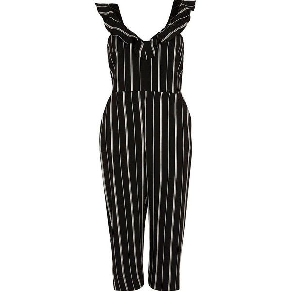 River Island Petite black stripe frill culotte jumpsuit (235 SAR) ❤ liked on Polyvore featuring jumpsuits, jumpsuit, black, rompers/ jumpsuits, women, romper jumpsuit, flounce romper, tall jumpsuit, petite jumpsuit and playsuit jumpsuit