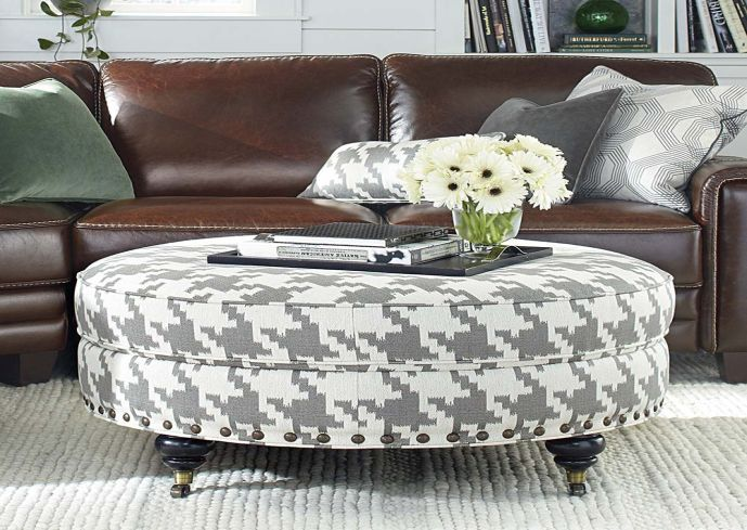 Furniture: Elegant Seating White Round Fabric Ottoman Coffee Table Upholstered As Coffee Table Sets And Modern Coffee Tables In Floor Use Ceramic Flooring from Your Own Tufted Fabric Ottoman Coffee Table